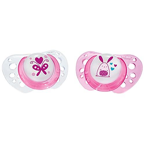 Chicco PhysioForma Air, Chupete de Recién Nacido 0-6 Meses, Tetina de Látex, 2 Piezas, Ayuda a la Respiración Fisiológica y Favorece el Desarrollo Adecuado de la Boca del Bebé, Rosa