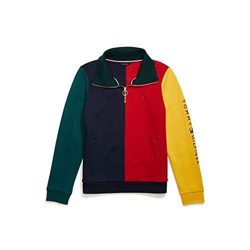 Tommy Hilfiger Damen ADP W Jude CB Corp Logo 1/4 Zip Sweatshirt, Masters Navy/Multi, Large