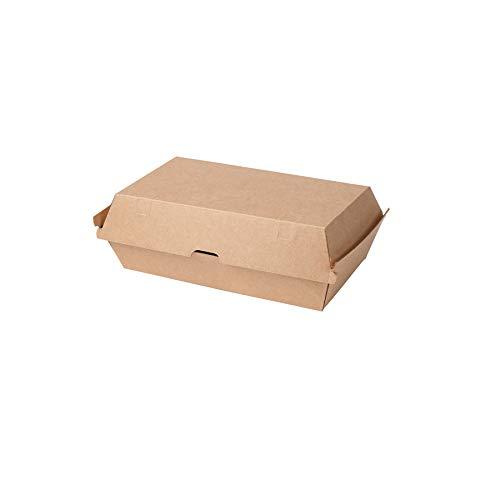 BIOZOYG Take Away Burger Box 200 Stück I Burgerboxen mit Klappdeckel I Hamburger Box aus Frischfaster-karton I to Go Burger Verpackung fettbeständig braun-weiß 13 x 24,8 x 7,5 cm I recycelbar