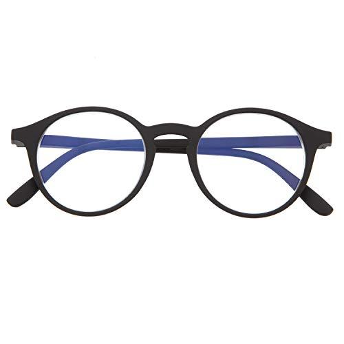 DIDINSKY Blaulichtfilter Brille für Damen und Herren. Blaufilter Brille mit stärke oder ohne sehstärke für Gaming oder Pc. Gummi-Touch-Tempel und Blendschutzgläser. Graphite +2.0 – UFFIZI