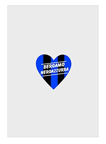 Tipolitografia Ghisleri Toallita de baño, toalla de playa, diseño de corazón de bergama, color negro y azul, dividida para aficionados del estadio 70 x 140 cm