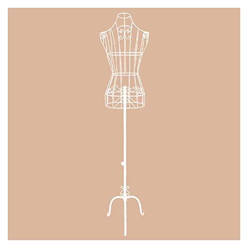 SDHENAILIAN Maniquí Confección Marco De Alambre De Metal Mannequin Torso con Soporte, Modelo De Hierro Vintage para Vestido/Trajes De Mujer/Pantalla De Boda (Color : White)