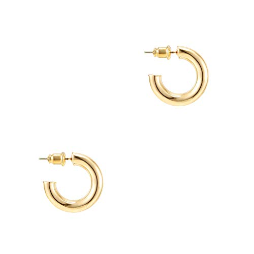 Pavoi 14k Gold Hoop Earrings For Women 20mm | Thick Infinity Gold Hoops Women Earrings | Gold Plated Loop Earrings For Women | Lightweight Hoop Earrings Set For Girls