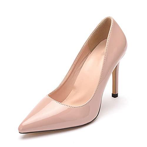Zapatos De Novia Para Mujer,Tacones Altos Puntiagudos,Asakuchi PU Charol 9.5Cm Tacón Alto...