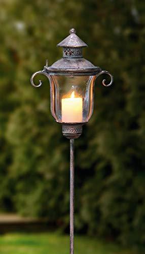 Dekoleidenschaft Stab-Laterne Shabby aus Metall & Glas im Antik Design, 118 cm hoch, Windlicht, Kerzenständer, Gartensticker