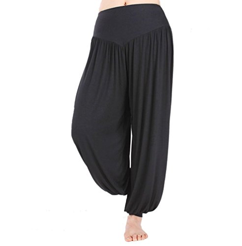 LATH.PIN Pantaloni Larghi Donna Harem Baggy Hip Hop Lunghi Pantaloni Estivi Ragazza alla Moda Pantaloncini Yoga Jogging Sportivi (2XL, Nero)