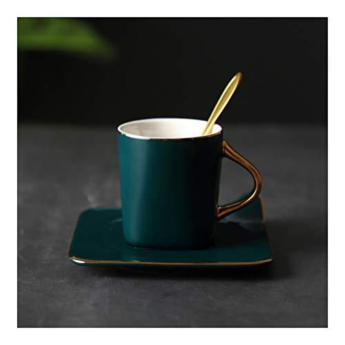 KGDC Tazas de Espresso Taza de café de cerámica de 5,9 oz y Coaster Espresso Tazas manija de Oro Ideal para café, capuchinos, té Taza de té (Color : Green)