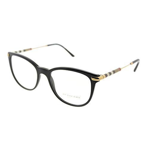 Burberry BE 2255Q 3001 Black Plastic Square Eyeglasses 51mm