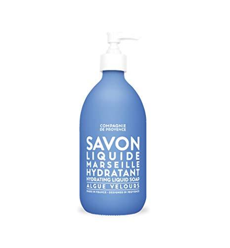 Compagnie de Provence Savon de Marseille Extra Pure Liquid Soap - Velvet Seaweed - 16.7 Fl Oz Glass Pump Bottle