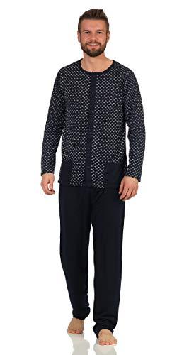 EloModa Herren Pyjama Set Hemd & Hose Schlaf-Anzug Nachthemd, Gr. M L XL 2XL, Dunkelblau M