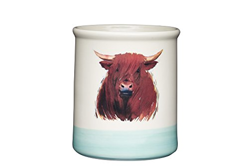 APPLE FARM Hand-Finished 'Hamish Highland Cow' Ceramic Utensil Holder, 12.5 x 12.5 x 14.5 cm (5' x 5' x 5.5') -Cream/Sage Green, 12.5 x 12.5 x 14.6 cm, Multi-Colour