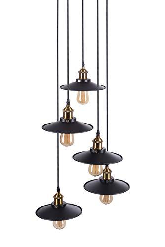 Crown - Lámpara de techo colgante (5 bombillas LED E27 de color negro, 5 cables de tela de 1,5 m, 5 bombillas Edison de intensidad regulable)