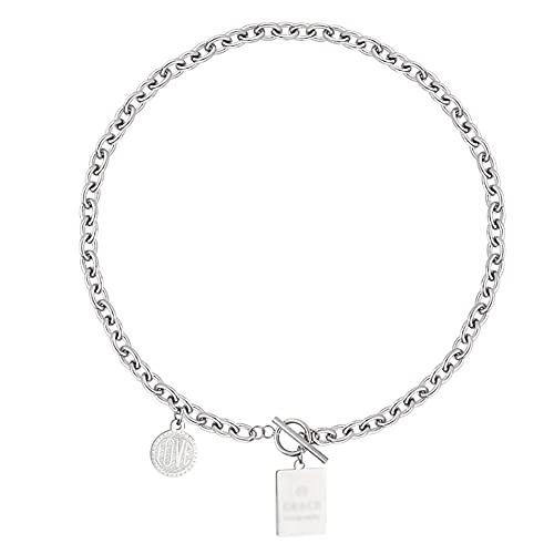 WYH Gargantilla de acero titanio Hip Hop Tag Collar, collar vintage de clavícula, regalo de San Valentín, regalo de la madre, plata para ella