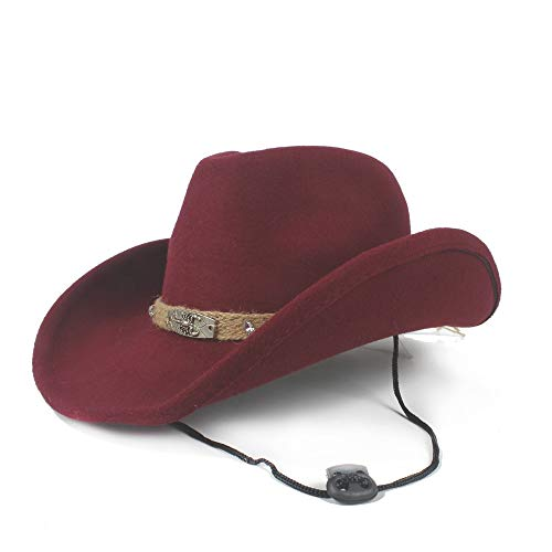 sun hat Size 56-58CM Women Men Wool Western Cowboy Hat With Fashion Band Pop Fedora Hat Wide Brim Hat beach hat (Color : Wine Red, Size : 56-58)