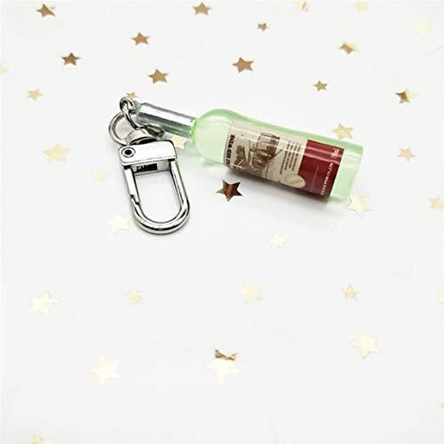 HGFJG Simple Divertido Imitación Botella De Vino Llavero De Moda Pequeño Auricular Cubierta Colgante Bolsa Accesorio Llavero Mejor Amigo Regalo
