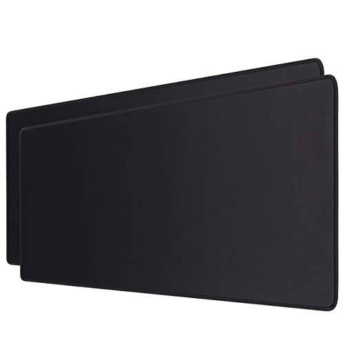 JIKIOU 2 Pack Extended Gaming Mouse Pad with Stitched Edges, Large Mouse Pad with Premium-Textured Cloth, Non-Slip Rubber Base, Mouse Mat Keyboard Pad Mat for Gaming, Office & Home,31.5x11.8inch,Black