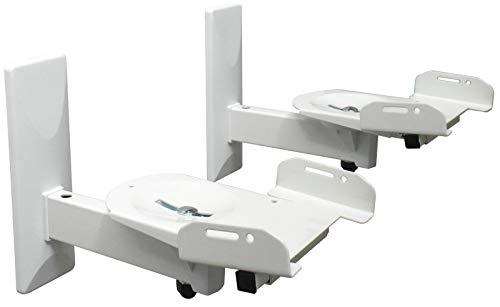 2 soportes de pared para altavoces - capacidad de carga de hasta 12 kg - soporte de altavoz para altavoces de audio - giratorio basculante - soporte de pared ajustable blanco Modelo: BH5Wx2