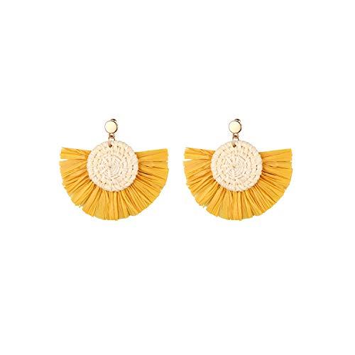 Aroncent Colgantes de Oreja de Estilo Bohemio Exagerado Pendientes Tejido de Flecos Elegante para Mujer Aretes Semicírculo con Aguja de Acero Inoxidable Diseño Moda Retro Color Amarillo