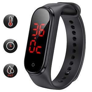 AGPTEK Fitness Trackere Termometro Digitale LCD da Polso, Orologio Ricaricabile Termometro Basale Impermeabile per Adulti, Bambini, Anziani
