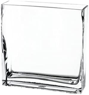 CYS EXCEL Rectangular Glass Vase, Block Vase, Flower Vase, Rectangle Vases for Centerpieces, Pack of 1. (H:8