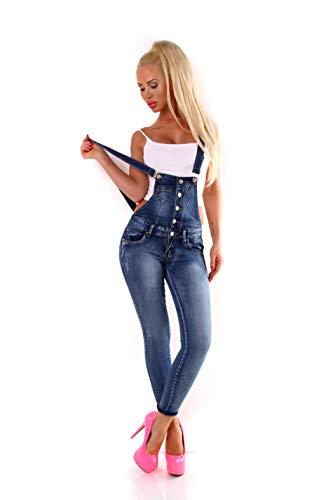 Fashion4Young 10694 Damen Latzhose Hose Pants mit Träger Röhren Jeans Overall Jeanshose Trägerhose (M=38, Blau)