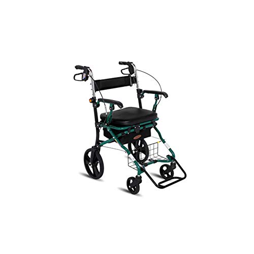 XINYAN JIA Andador Aluminio Andador/Andador Ligero Equipo Completo Diseño Plegable Compacto Andador Altura Ajustable Andador Andador (Verde)