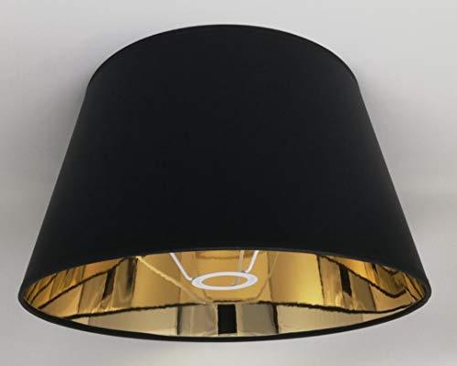 35 cm Schwarzer Stoff Lampenschirm mit Goldfutter Handgemacht für Tisch, Stehlampe