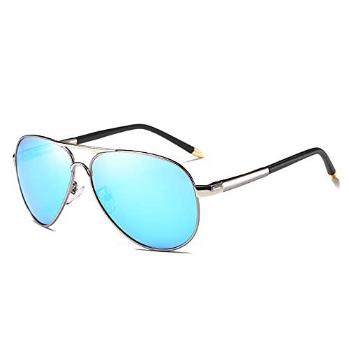 Gafas de sol para hombre: los nuevos hombres polarizados gafas de sol primavera pierna retro espejo puede ser adyacente a la lente (azul)