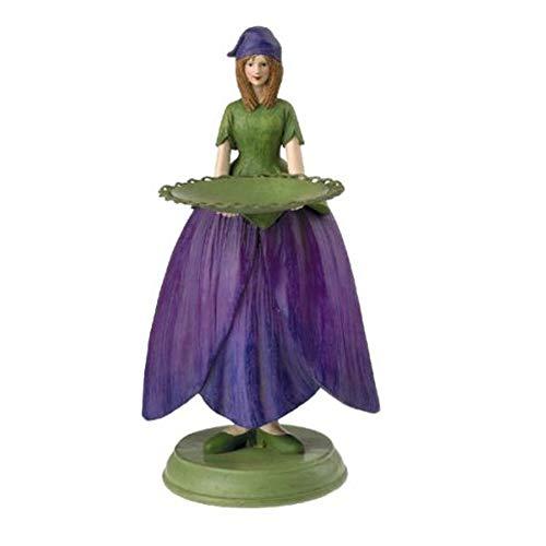 Fiebiger Floristik Veilchenmädchen mit Teller. Blumenmädchen Deko-Figur Garten Geburtstag Geschenk 18 cm grün violett