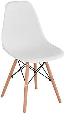 N/C – Juego de 6 sillas de comedor con patas de madera de haya, sillas para restaurante o oficina, color blanco