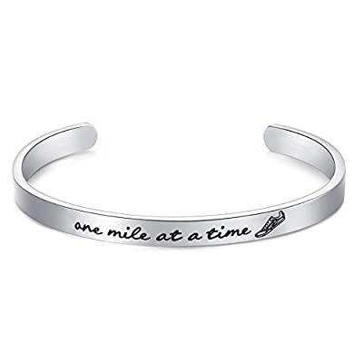 "LParkin Marathon Runners Gifts Bracelet Running Jewelry Men Women One Mile at A Time Bracelet 1/4"" x 6"" Stainless Steel Polished Finish"
