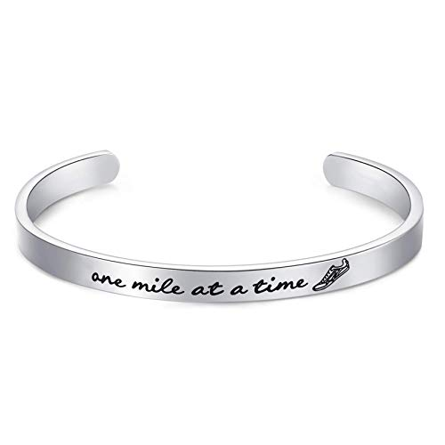 """Marathon Runners Gifts Bracelet Running Jewelry Men Women One Mile At A Time Bracelet 1/4"""" x 6' Stainless Steel Polished Finish"""