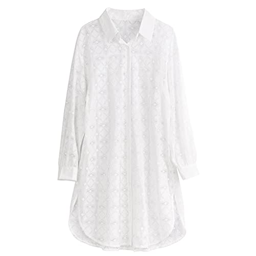 GDSSX Bikini Swimsuit Cover Up Lace de Verano Camisa de Manga Larga Cardigan Swimwear. (Color : White, Size : Medium)