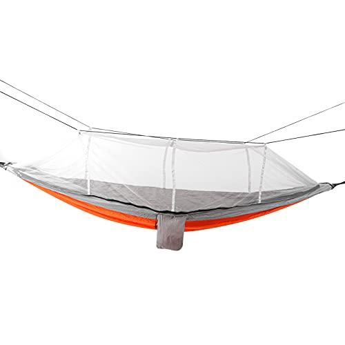 ROMACK Hamaca para Acampar con mosquitera, antimosquitos, súper Ligera, Transpirable, Conveniente, Hamaca de Nailon, mosquitera para Acampar para mochileros(Malla Gris Naranja y Gris)