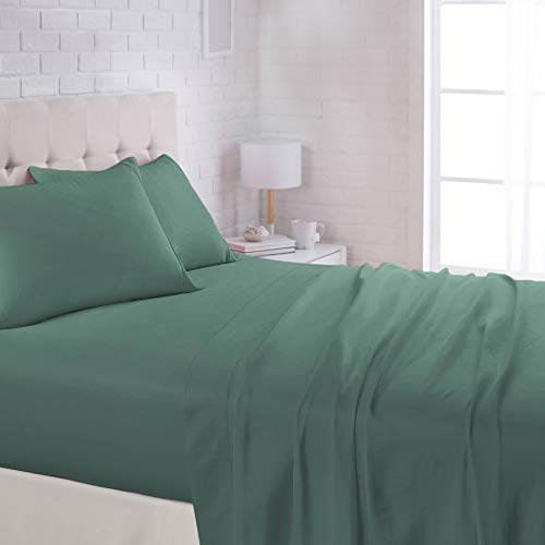 AmazonBasics Lightweight Super Soft Easy Care Microfiber Bed Sheet Set with 16quot Deep Pockets  Queen Emerald Green