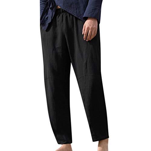Pantalones Hombre Pantalón Casual Lino Pantalones de Playa Jogging Color sólido Deportivo Pantalon Fitness Chandal Elástica Verano Transpirable Sueltos riou