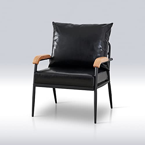 TUKAILAI Single Faux Leather Sofa Lounge Soft Armchair with Metal Support Living Room Furniture Black