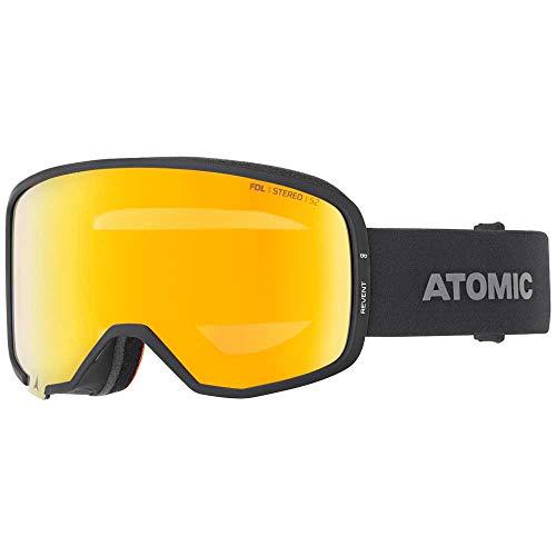 Atomic AN5105830 Revent Stereo OTG, Maschera da Sci All-Mountain, Unisex, Large Fit, Doppia Lente Cilindrica FDL, Compatibile con Occhiali da Vista, Nero/Rosa-Giallo Stereo