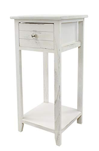 DARO DEKO Konsolentisch mit Schublade weiß antik 30 x 30 x 63cm