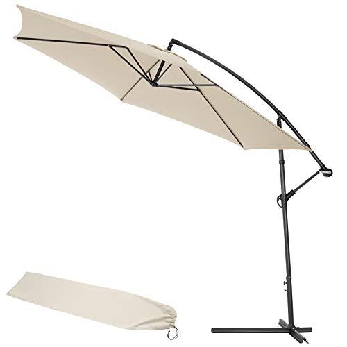 TecTake Parasol Déporté Excentré Hexagonale + UV Protection 30+ 3,50m + Housse de Protection Beige