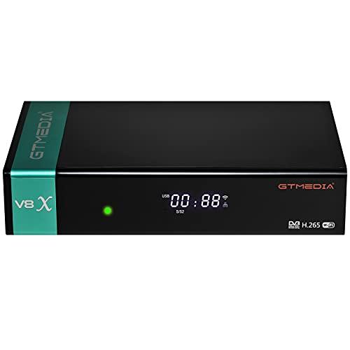 GT MEDIA V8X Decodificador Satelite DVB-S/S2/S2X Full HD 1080p con WiFi / Ethernet / SCART / Tarjeta Lector, Soporte Multi-Stream / T2MI, USB PVR Youtube CCcam, Receptor de TV satelital Digital