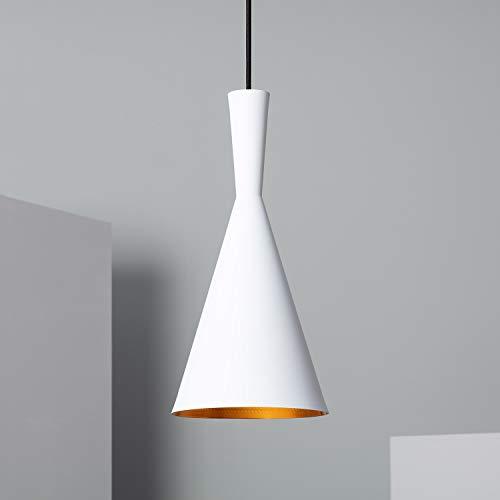 LEDKIA LIGHTING Lámpara Colgante Lennon 185x380 mm Blanco E27 Casquillo Gordo Aluminio Decoración Salón, Habitación, Dormitorio