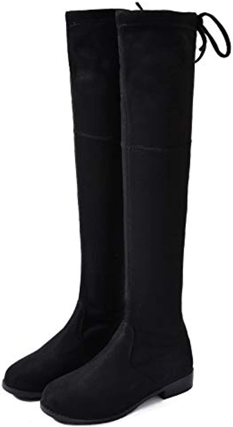 Autumn Winter Flat high-end Plus Velvet Martin Boots Ladies Sexy Stretch Knee Thighs Pilot Boots
