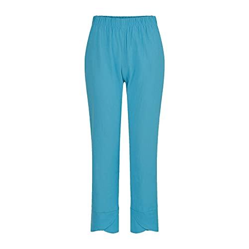Pantalones de verano para mujer Bolsillos casuales Algodón Lino Pierna ancha Cordón Cintura elástica Pantalones cortos Capris