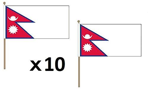AZ FLAG Bandera de Nepal 45x30cm con Palo de Madera - Lote de 10 Bandera NEPALÍ 30 x 45 cm