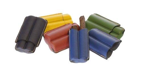 Porta due sigari mezzo toscano in cuoio Harlequin - Hand made in Italy (Rosso, Verde, Giallo, Blu e Azzurro (Rosso)