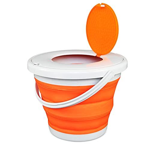 Cubo plegable portátil, plegable azul, con cubierta, diseño plegable, resistente y duradero, fácil de transportar y almacenar, adecuado para baño, camping al aire libre, pesca (5 L, naranja)