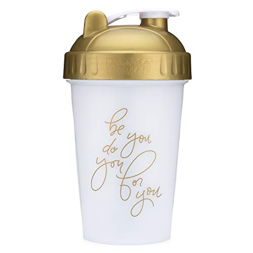 Motivational Quotes on Performa Perfect Shaker Bottle, 20oz Classic Protein Shaker Bottle, Advanced Actionrod Mixing Technology, Dishwasher Safe, Leak Proof (Be You - Gold - 20oz)