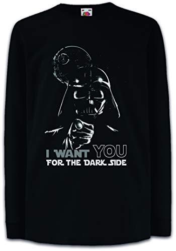 Urban Backwoods I Want You For The Dark Side Camisetas de Manga Larga T-Shirt para Niños Niñas Negro Talla 12 Años