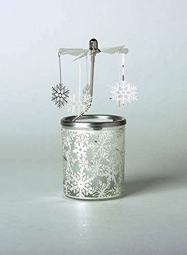 Kerzenfarm Hahn Glaskarussell Teelichthalter Windlicht 84342 Motiv Schneeflocke Größe 16 x 6 x 6 cm Glaskarussel, Glas, Silber, 6 cm